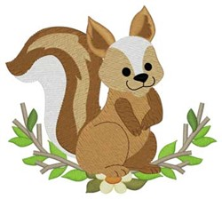 Woodland Squirrel embroidery design