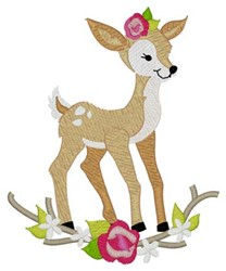 Woodland Girl Deer embroidery design