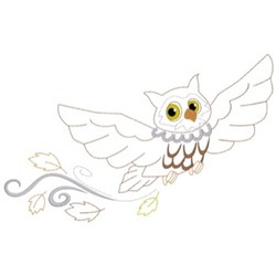 Owl With Leaves embroidery design