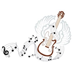 Guitar With Wings embroidery design