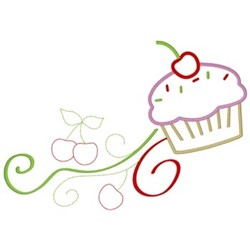 Cupcake Scroll embroidery design