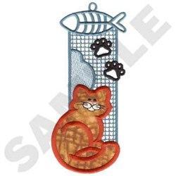 Cat Bookmark Applique embroidery design