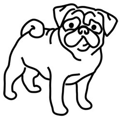Pug Outline embroidery design