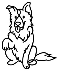 Border Collie Outline embroidery design