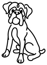Boxer Outline embroidery design