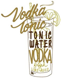 Vodka Tonic embroidery design