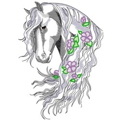 Friesian With Flowers embroidery design