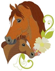 Mare & Foal Heads embroidery design
