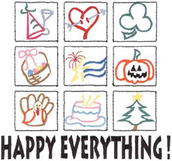 Happy Everything embroidery design