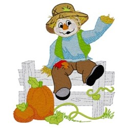 Scarecrow On Fence embroidery design