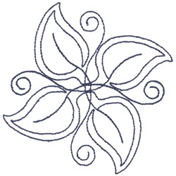 Leaf Pattern Outline embroidery design