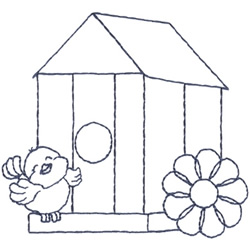 Birdhouse Outline embroidery design