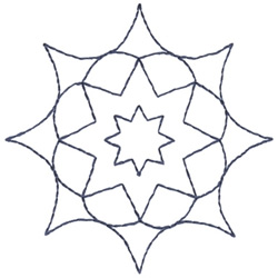 Star Flower Outline embroidery design