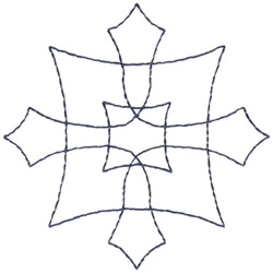 Cross & Square Outline embroidery design