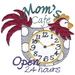 Moms Cafe Clock embroidery design