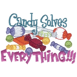 Candy Solves Everything embroidery design