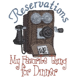 Favorite Reservations embroidery design