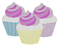 Cupcakes embroidery design