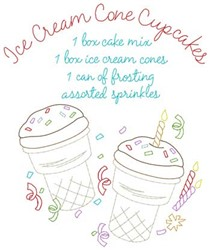 Ice Cream Cone Cupcakes embroidery design