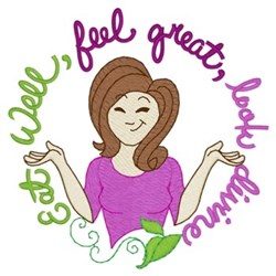 Eat Well Feel Great embroidery design