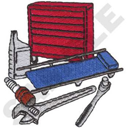 Mechanics tools embroidery design