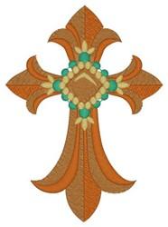 Fleur De Lis Cross embroidery design