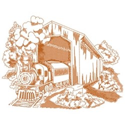 Covered Railway Bridge embroidery design