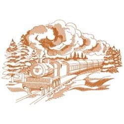 Winter Train Scene embroidery design