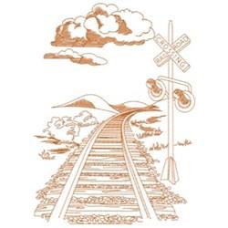 Train Tracks & Signal embroidery design