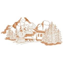 Moutain Train Scene embroidery design
