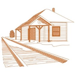 Old Train Depot embroidery design