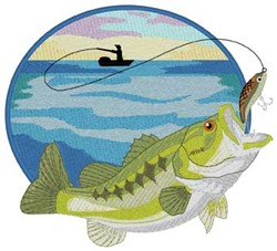 Large Mouth Bass Scene embroidery design