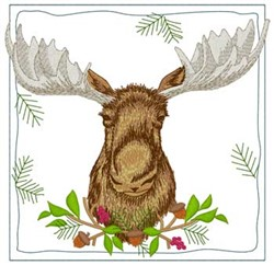 Moose Quilt Square embroidery design