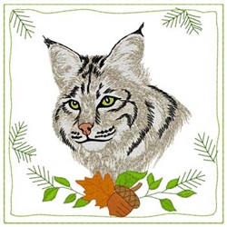 Bobcat Quilt Square embroidery design