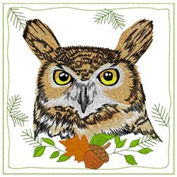 Great Horned Owl Quilt Square embroidery design