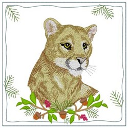 Mountain Lion Quilt Square embroidery design