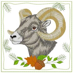 Big Horn Sheep Quilt Square embroidery design