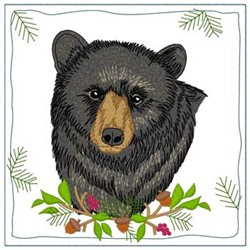 Black Bear Quilt Square embroidery design