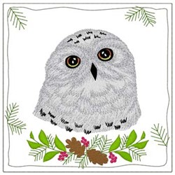 Snowy Owl Quilt Square embroidery design