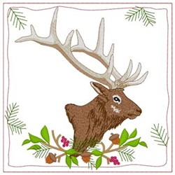 Elk Quilt Square embroidery design