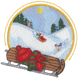 Sledding embroidery design