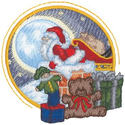 Santa On The Rooftop embroidery design