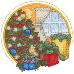 Presents By The Tree embroidery design
