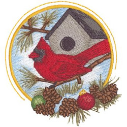 Cardinal Scene embroidery design