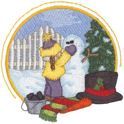 Building A Snowman embroidery design