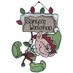Elf Hanging From Lights embroidery design