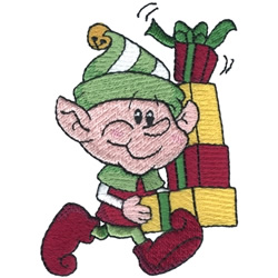 Elf With Presents embroidery design