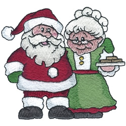 Mr & Mrs Claus embroidery design