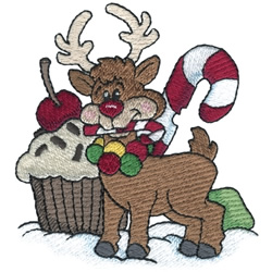 Reindeer Eating Treats embroidery design