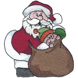 Santa With Toy Bag embroidery design